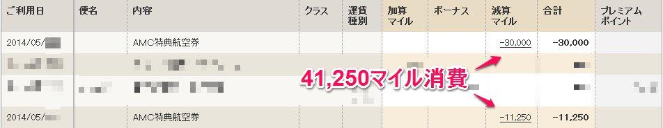 2014年5月マイル消費