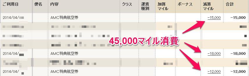 2014年4月マイル消費
